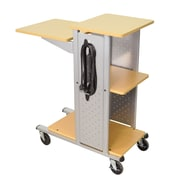 H Wilson 38 1/2 Laminate Mobile Presentation Station With Electric Outlets, Gray/Black