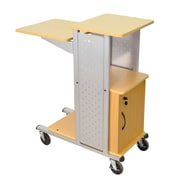 """H Wilson 38 1/2"""" Laminate Mobile Presentation Station With Cabinet, Gray/Black"""