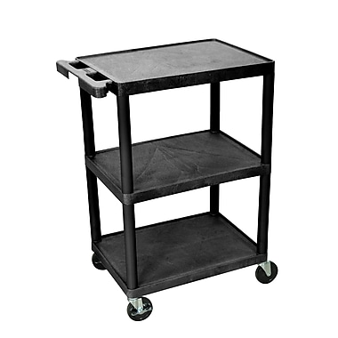 Luxor Structural Foam Plastic Three Shelf Utility Cart, Black