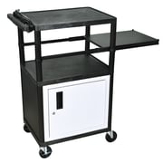 Luxor 42 Plastic A/V Carts With Electric and Cabinet, Black