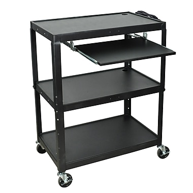 Luxor 24in.- 42in. Adjustable Height Extra Large Steel A/V Cart With Keyboard Shelf, Black