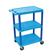 Luxor Structural Foam Plastic Three Shelf Utility Cart, Blue