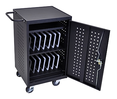 Luxor Tablet Charging Cart With 30 Electrical Outlets, Black 350249