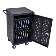 Luxor Tablet Charging Cart With 30 Electrical Outlets, Black
