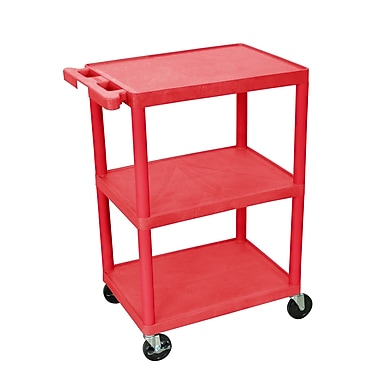 Luxor Structural Foam Plastic Three Shelf Utility Cart, Red