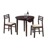 "Monarch 3PC Padded Dining Set With a 36""Dia Drop Leaf Table, Cappuccino"