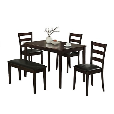 Monarch 5PC Dining Set With A Bench and 3 Side Chairs