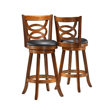 Monarch 29in. Leather Solid Wood Swivel Barstool, Black