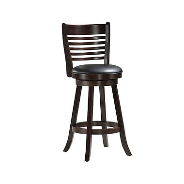 Monarch in.Xin. Collection 29in. Leather Solid Wood Swivel Barstool, Cappuccino