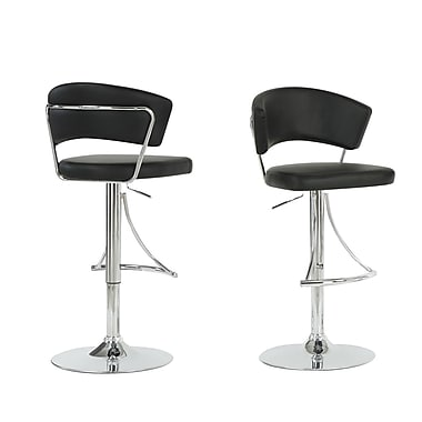 Monarch Leather Chrome Metal Hydraulic Lift Barstool, Black
