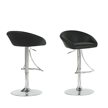 Monarch Leather Chrome Metal Hydraulic Lift Barstool With Footrest, Black
