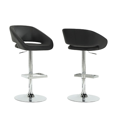 Monarch Leather Chrome Metal Hydraulic Lift Barstool With Square Footrest, Black