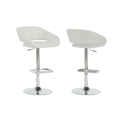 Monarch Leather Chrome Metal Hydraulic Lift Barstool With Square Footrest, White