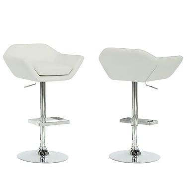 Monarch Leather Chrome Metal Hydraulic Lift Barstool With Symmetrically Shaped Seat, White, 2/Pack