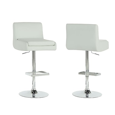 Monarch Leather Chrome Metal Hydraulic Lift Barstool, White, 2/Pack