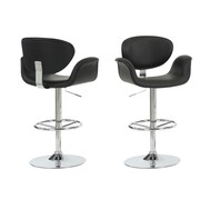 Monarch Leather Chrome Metal Hydraulic Lift Barstool With Arms, Black