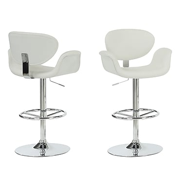 Monarch Leather Chrome Metal Hydraulic Lift Barstool With Arms, White
