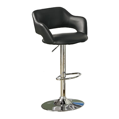Monarch Leather Chrome Metal Hydraulic Lift Barstool With Round Footrest, Black