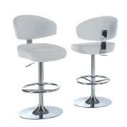 Monarch Leather Chrome Metal Hydraulic Lift Barstool With Curved Back, White