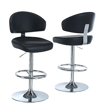 Monarch Leather Chrome Metal Hydraulic Lift Barstool With Curved Back, Black