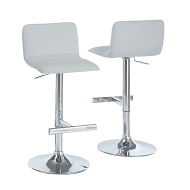 Monarch Leather Chrome Metal Hydraulic Lift Barstool With Sling Seat, White