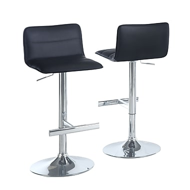 Monarch Leather Chrome Metal Hydraulic Lift Barstools With Sling Seat