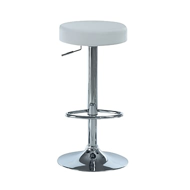 Monarch Chrome Metal Hydraulic Lift Barstool, White