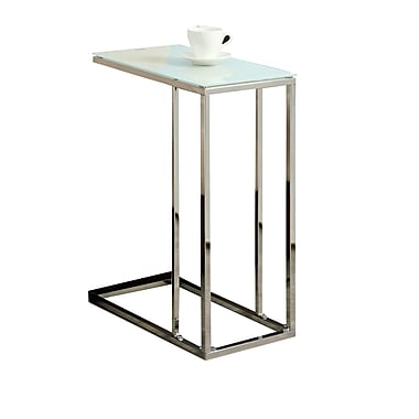 Monarch 24in. Tempered Glass/Chrome Metal Accent Table, White