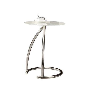 Monarch Metal Accent Table, Frosted Glass, Each (I3003MSI)