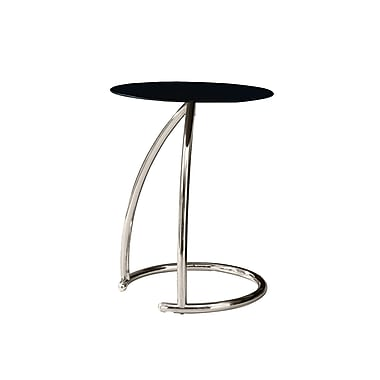 Monarch 22 3/4in. Tempered Glass/Chrome Metal Accent Table, Black
