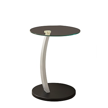 Monarch 23.66in. Tempered Glass/Silver Bentwood Accent Table, Clear