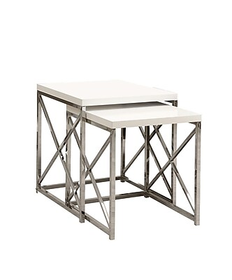 """""Monarch 2 Piece 19 3/4"""""""" x 19 3/4"""""""" x 19 3/4"""""""" Metal Nesting Table Set, Glossy White"""""" 343228"