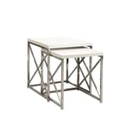"Monarch 2 Piece 19 3/4"" x 19 3/4"" x 19 3/4"" Metal Nesting Table Set, Glossy White"