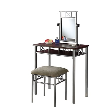 Monarch Metal Vanity With Mirror and Stool, Dark Brown, 51