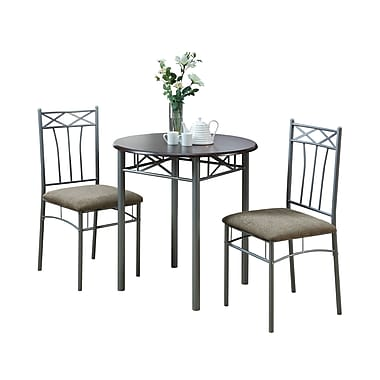 Monarch Metal 3 Piece Bistro Set, Cappuccino/Silver