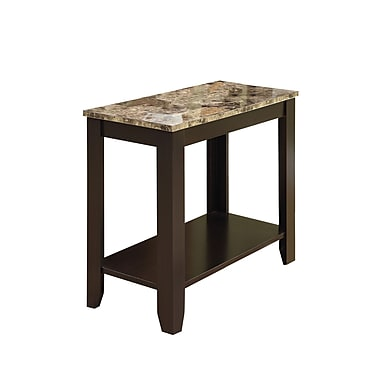 Monarch 23 1/2in. Marble Top Accent Side Table, Cappuccino