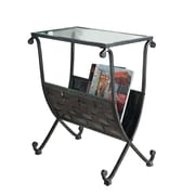 """Monarch 23"""" x 13"""" x 19"""" Tempered Glass Magazine Table, Clear"""