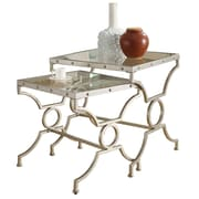 """Monarch 2 Piece 19 1/2"""" x 17 1/2"""" x 19 1/2"""" Tempered Glass Nesting Table Set, Clear"""