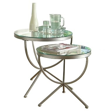Monarch 2 Piece 20in. x 20in. x 20in. Tempered Glass Round Nesting Table Set, Clear