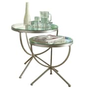 """Monarch 2 Piece 20"""" x 20"""" x 20"""" Tempered Glass Round Nesting Table Set, Clear"""