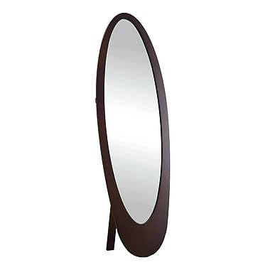 Monarch 59.3in. x 18 1/2in. x 18.8in. Contemporary Oval Cheval Mirror, Cappuccino