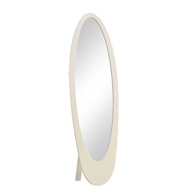 Monarch 59.3in. x 18 1/2in. x 18.8in. Contemporary Oval Cheval Mirror, White