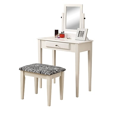 Monarch Metal Vanity With Mirror and Stool, White, 51