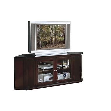 Monarch 62in. Solid Wood/Veneer Corner TV Stand, Cappuccino