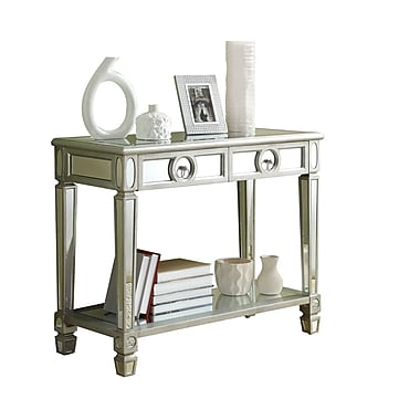 Monarch Glass Console Table, Silver, Each (I3700MSI)