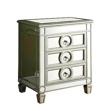 Monarch 26in. Wood 3 Drawer Accent Table, Mirrored