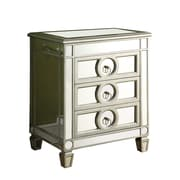 """Monarch 26"""" Wood 3 Drawer Accent Table, Mirrored"""