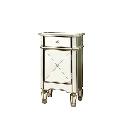 Monarch Mirrored 1 Drawer Accent Cabinet