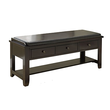 Monarch 48in. Solid Wood Bench With 3 Drawers, Cappuccino