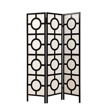 Monarch 3 Panel Circle Design Folding Screen, 71in. x 54in. x 1in., Black